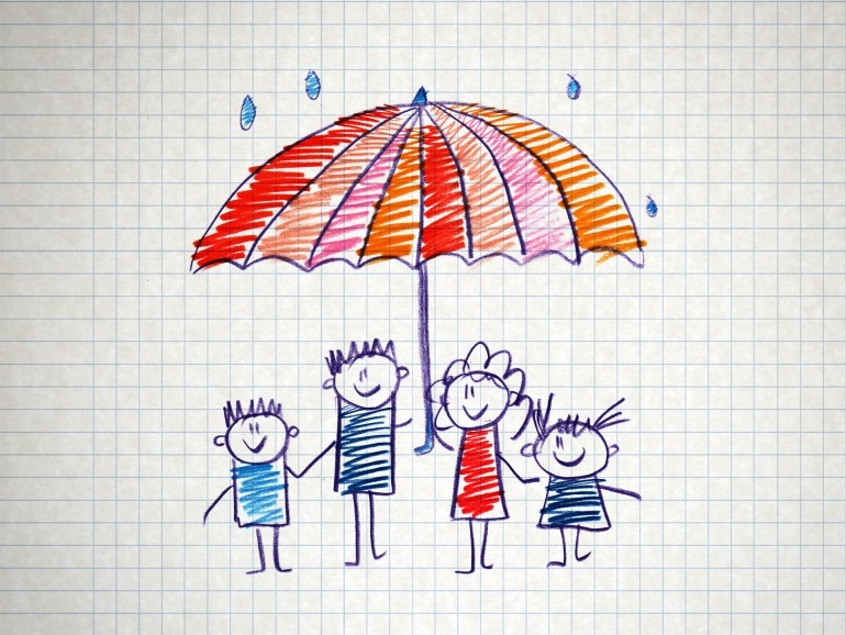 The social protection of the family. Kids drawing style.